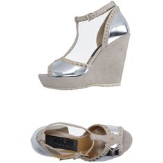 Cesare Paciotti 4us Sandals featuring polyvore, women's fashion, shoes, sandals, silver, wedge heel sandals, buckle sandals, wedge heel shoes, studded wedge sandals and leather wedge sandals