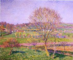 Camille Pissarro Big Walnut Tree at Eragny hand painted oil painting reproduction on canvas by artist Georges Seurat, Pierre Auguste Renoir, Edouard Manet, Painting Gallery, Art Gallery, Painting Frames, Camille Pissarro Paintings, Pissaro Paintings, Gustave Courbet