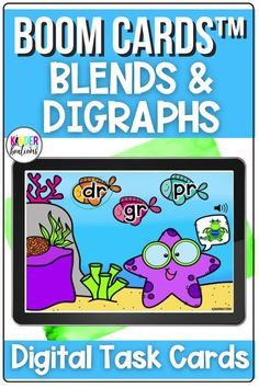 This bundle of Boom Cards includes 5 different literacy digital task card decks with audio directions and support. Skills include beginning blends and beginning and ending digraphs. These self-checking digital task cards are perfect for your kindergarten or first grade learners. They can be used for distance learning, home learning, or in the classroom. #kindergarten #boomcards #literacy #distancelearning