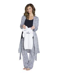 Harper Maternity/Nursing PJ'S,Robe & White Baby Receiving Gown Set