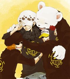 Heart Pirates - Trafalgar D. Water Law, Bepo, Penguin, and Shachi One Piece art yellow