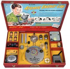 "In 1951, A.C. Gilbert released an ""Atomic Energy Lab"", which contained three ""very low-level"" radioactive sources (alpha, beta, and gamma particles), a U-239 Geiger counter, a Wilson cloud chamber, a spinthariscope, four samples of uranium-bearing ores, and an electroscope to measure radioactivity. And I thought growing up in the '60s and '70s was dangerous!!"