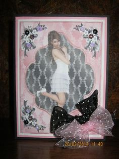 framed beauty on Craftsuprint designed by Gail Collins - made by Nadege Burness - I MATT AND LAYERED THE TOPPER AND ADDED TO A BLACK CARDSTOCK BASE.EMBELLISHED AND ROUNDED OFF WITH DOUBLE POLKA DOT BOWS .  - Now available for download!