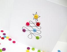 Carte de Noël arbre de Noël avec bouton babioles papier