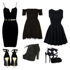 """Black"" by diazana-bae ❤ liked on Polyvore featuring Chicnova Fashion, Breckelle's, Balmain and Casadei"