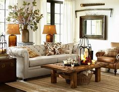 tufted sofa, leather chair, rustic elements, living room, hearth room
