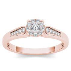 De Couer 10k Rose Gold 1/4ct TDW Diamond Cluster Engagement Ring (H-I, I2)