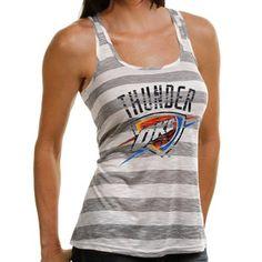 OKC Thunder Ladies Gray-Cream Good Call Racerback Striped Tank / $39.95 / Lady Fanatics