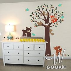 Forest Small Animals and Tree  Nursery Wall Decal by wcookie
