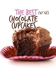 THE BEST Vegan Gluten Free Chocolate Cupcakes, just 1 BOWL required! #vegan #glutenfree