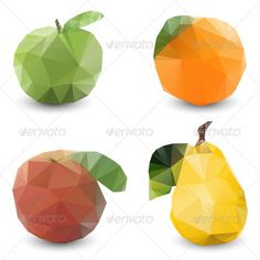 Modern Stylized Geometric Fruits - Food Objects