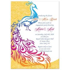 Bold and colorful peacock Indian wedding engagement party invitation. Can be used for any other special occasion you want to use a colorful peacock theme for. Engagement Party Themes, Engagement Party Invitations, Unique Wedding Invitations, Elegant Invitations, Wedding Themes, Wedding Decorations, Indian Engagement, Wedding Engagement, Engagement Pictures