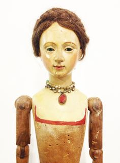 Rare 18th Century 1740s Beautiful Large Santos Cage Doll Glass Eyes-