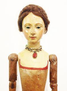 Rare 18th Century 1740s Beautiful Large Santos Cage Doll Glass Eyes- pariscoutureantiques.com