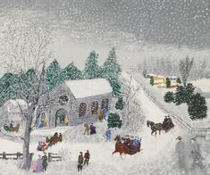 Sotheby's presents works of art by Grandma Moses. Browse artwork and art for sale by Grandma Moses and discover content, biographical information and recently sold works. Grandma Moses, Paintings Famous, Famous Artists, Art Paintings, Winter Art Projects, Storybook Cottage, Primitive Folk Art, Snow Scenes, Naive Art