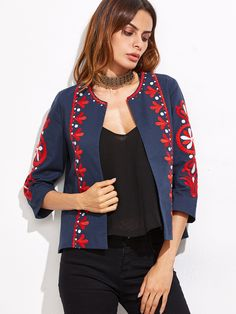 Navy Embroidery Three Quarter Length Sleeve Coat — 0.00 € -------color: Navy size: L,M,S