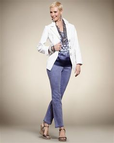 """A basic white blazer is so versatile and one of my basic """"looks"""" for the summer."""