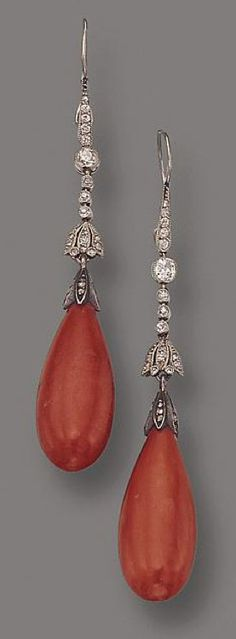PAIR OF CORAL AND DIAMOND PENDANT-EARRINGS, R ETAILED BY KOCH
