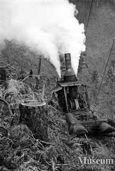 "Steam donkey in operation (1939) : ""Steam donkey is a 11 1/2 x 13 Empire.""  Campbell River Museum - Mel Parker Collection."