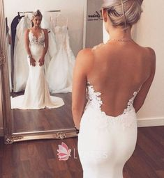 Illusion open back and V neck white lace mermaid wedding dress