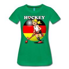 Hockey Dame des deutschen Feldhockey -Team. T-Shirt. #Spreadshirt #Cardvibes #Tekenaartje #Deutschland #Hockey