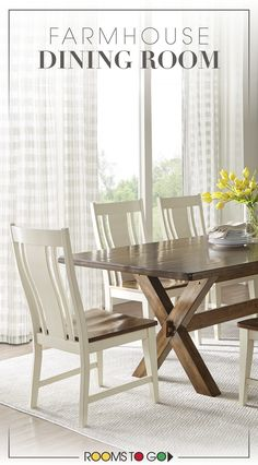 """A farmhouse style sets the tone for the Twin Lakes dining room. Whether you're sitting down for a casual brunch or entertaining friends on the generous 72"""" surface, this collection is a versatile and stylish option. Visit Rooms To Go now to see this farmhouse inspired dining room and many more!"""