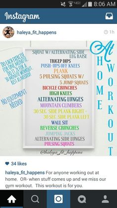 Home workout - no equipment needed.