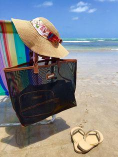 Bolsa de praia preta dupla tela