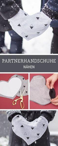 Nähen für Anfänger: Handschuhe in Herzform für zwei Personen nähen / diy sewing tutorial: heart shaped gloves via DaWanda.com