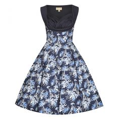 Octavia Navy Swing Occasion Dress   Vintage Style Dresses - Lindy Bop