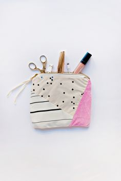 Geometric Fabric Scrap Zipper Clutch