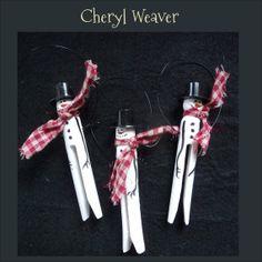 Handpainted Snowman Clothespin Ornie Peg Hanger by cherylweaver, $2.50