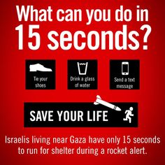 What can you do in 15 seconds? As rocket sirens sound across #Israel, many have only 15 seconds to get to shelter pic.twitter.com/0ngZO3VcQy