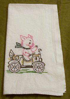 Dish Towel With Embroidery, Hand Embroidery, Pink Pig, Dish Towel, Kitchen  Towel