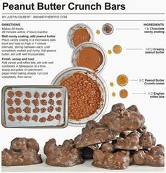 Behind the Bites: Chocolate Peanut Butter Crunch Bars Candy Recipes, Baking Recipes, Dog Food Recipes, Dessert Recipes, Dessert Ideas, Holiday Recipes, Yummy Treats, Delicious Desserts, Yummy Food