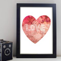 A unique Sweetheart Love Print which can be individually personalised by you. Featuring a contemporary asymmetric font on a vintage floral print heart. Personalised Prints, Poster Prints, Posters, Floral Prints, Contemporary, Love, Painting, Vintage, Art