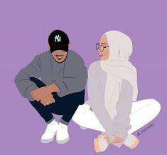 Couple Cartoon, Girl Cartoon, Cartoon Art, Cute Muslim Couples, Cute Couples, Couple Illustration, Illustration Art, Cover Wattpad, La Ilaha Illallah