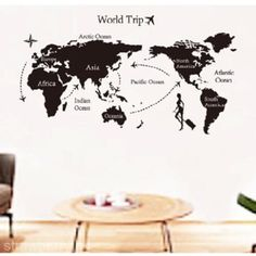 3 pvc removable world map wall sticker living room decor decal vinyl art mural gumiabroncs Choice Image