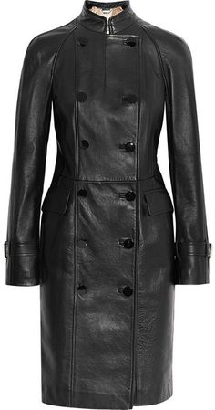 $6,275, Alexander McQueen Double Breasted Leather Coat. Sold by NET-A-PORTER.COM. Click for more info: https://lookastic.com/women/shop_items/133038/redirect
