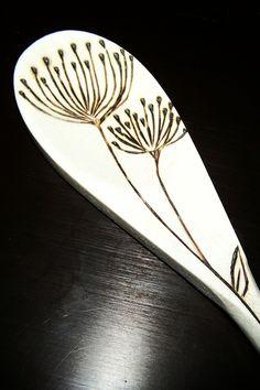 Wood burned wild flower spoons. $25.00, via Etsy.