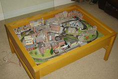 n gauge train layout set coffee table