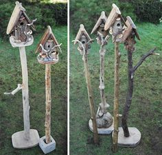 I love birdhouses and have plans to decorate our property. These stick stands give a nice look. Birdhouses. #buildabirdhousekit