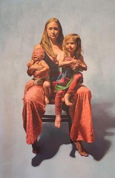 Scott Avett's portrait of his wife Sarah & their children