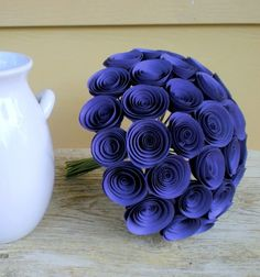 Violet Bridal Bouquet  Large Handmade Paper Flower by FlowerThyme, $70.00