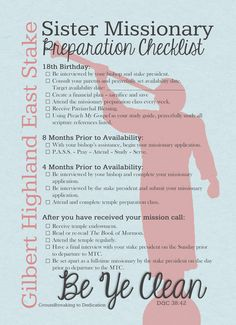 Sister Missionary Preparation Checklist http://alexiscreates.blogspot.com/2014/01/missionary-checklists.html