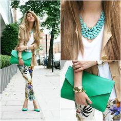Printed jeans, emerald clutch,tourquese touch!