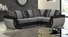 Say hello to the Shannon sofa range from KC Sofas. Our customers absolutely love this one! Available in pillow back or formal back versions. The Shannon range is really luxurious, with attractive black and silver patterned cushions. A welcome edition to any modern home. Cushions, Pillows, Fabric Sofa, Sofas, Range, Couch, Luxury, Formal, Modern