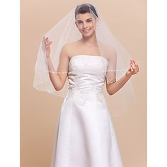 One-tier Fingertip Wedding Veil With Pearl Trim Edge – USD $ 14.39