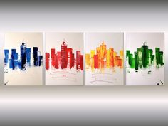 Big City - oversized abstract acrylic painting Skyline painting canvas wall art rainbow colors - Full-frontal image, unframed