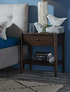 Silvan 1 Drawer Nightstand - Ball bearing drawer glides. English dovetail drawer joinery front and rear. Mirror supports attached to the back to hang mirror. Oval pewter hardware.